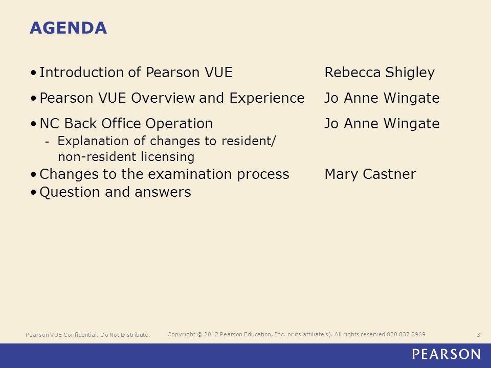 Pearson VUE Confidential. Do Not Distribute.3 Copyright © 2012 Pearson Education, Inc.