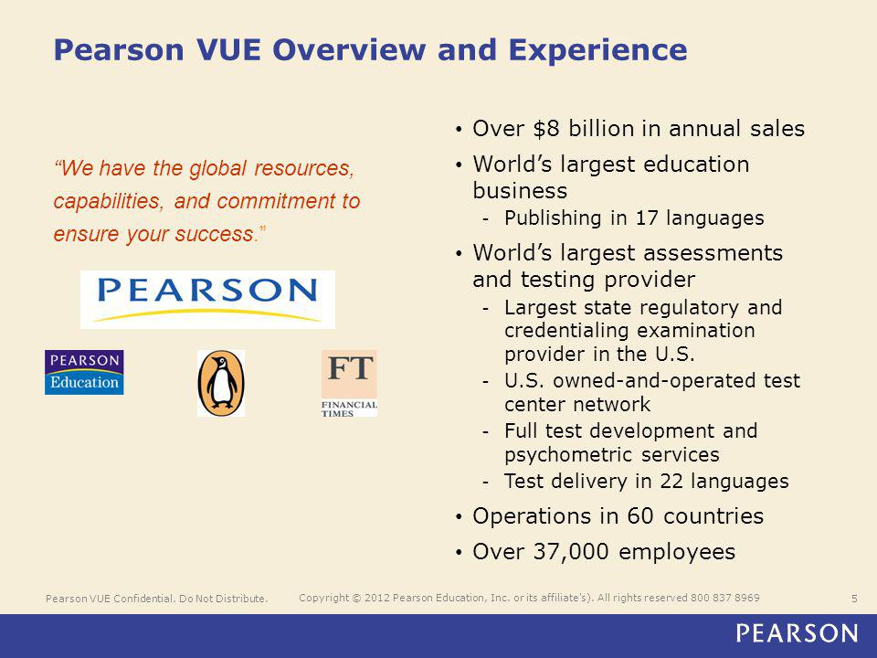 Pearson VUE Confidential. Do Not Distribute.5 Copyright © 2012 Pearson Education, Inc. or its affiliate's). All rights reserved 800 837 8969 Pearson V