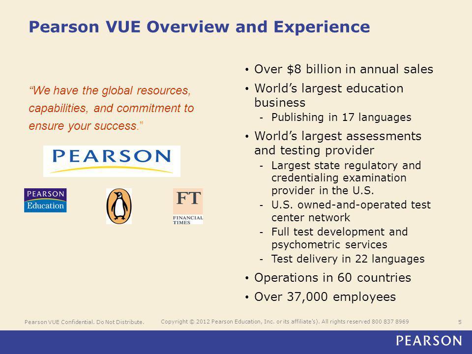 Pearson VUE Confidential. Do Not Distribute.5 Copyright © 2012 Pearson Education, Inc.