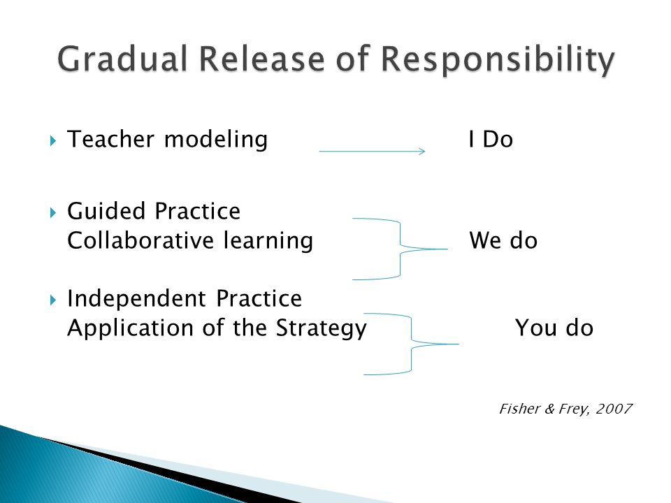 Teacher modeling I Do Guided Practice Collaborative learning We do Independent Practice Application of the Strategy You do Fisher & Frey, 2007