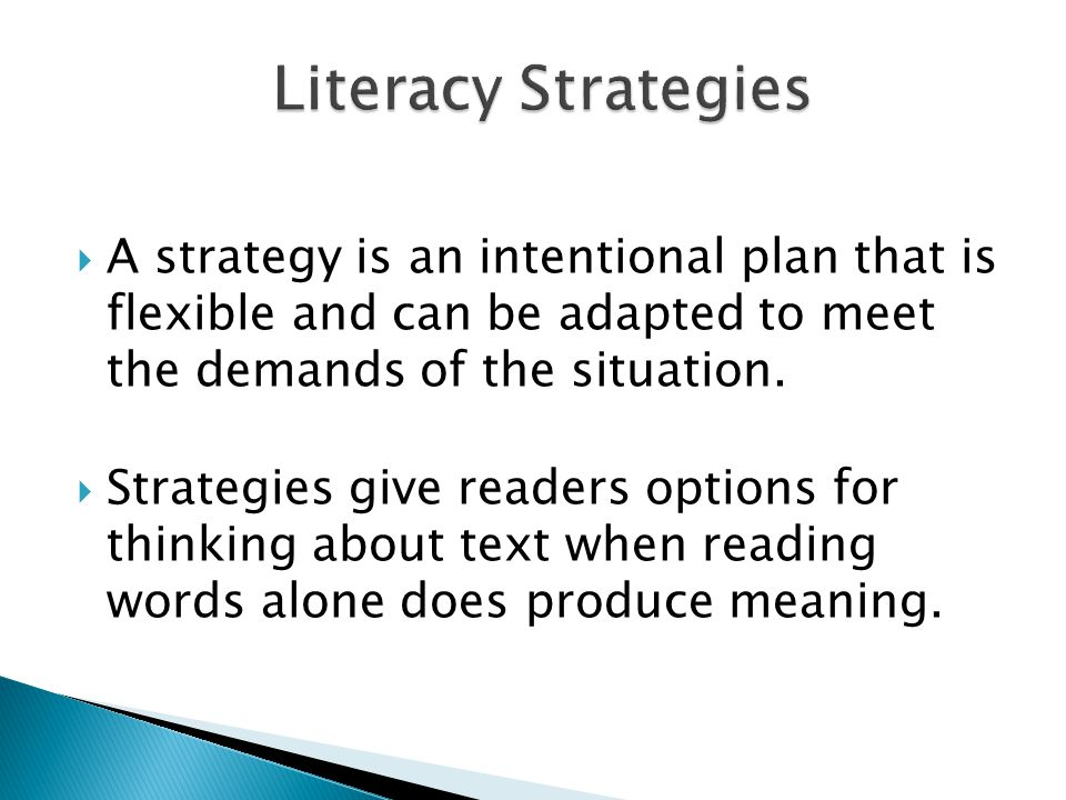 A strategy is an intentional plan that is flexible and can be adapted to meet the demands of the situation. Strategies give readers options for thinki