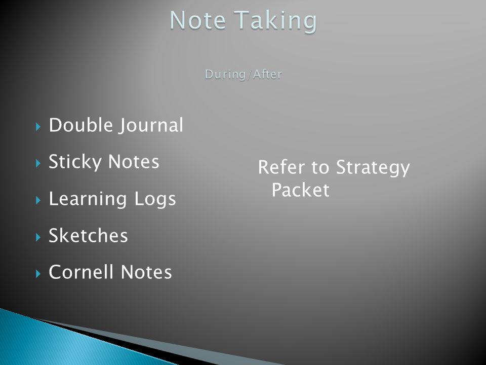 Double Journal Sticky Notes Learning Logs Sketches Cornell Notes Refer to Strategy Packet