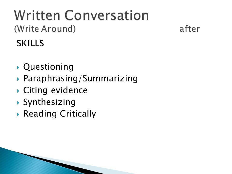SKILLS Questioning Paraphrasing/Summarizing Citing evidence Synthesizing Reading Critically