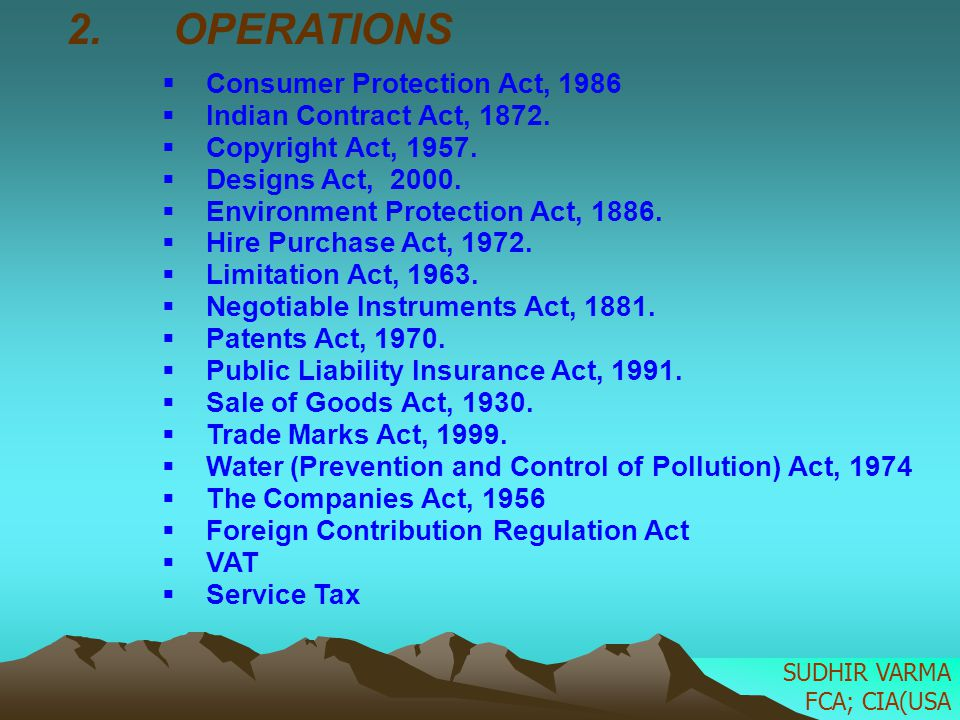 2. OPERATIONS Consumer Protection Act, 1986 Indian Contract Act, 1872. Copyright Act, 1957. Designs Act, 2000. Environment Protection Act, 1886. Hire