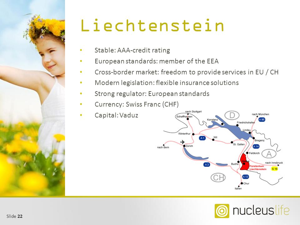 Slide 22 Liechtenstein Stable: AAA-credit rating European standards: member of the EEA Cross-border market: freedom to provide services in EU / CH Mod