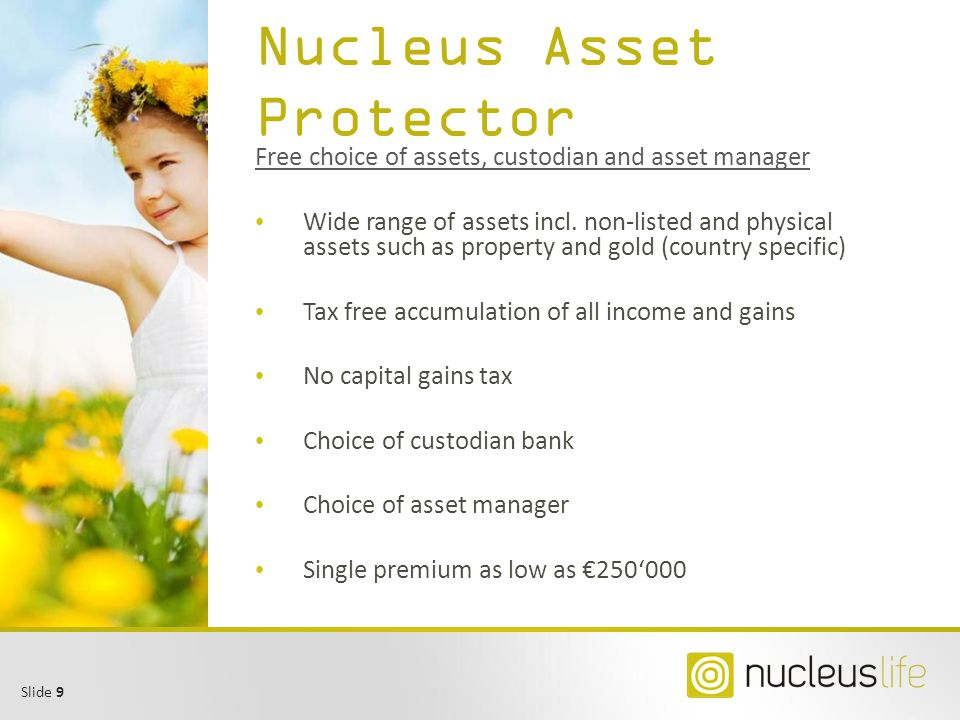 Slide 20 Nucleus Life AG Established in 2004 as niche player Cross-border specialist Compliant products DE, AT, BE, IT, International Languages: English, German, Italian, French, Dutch Shareholders: Nucleus & Associates (Luxembourg) Fork Capital (Belgium) Plenum Holdings (Switzerland) Strong – combined AuM > 1bn Know-how – all active in insurance & distribution