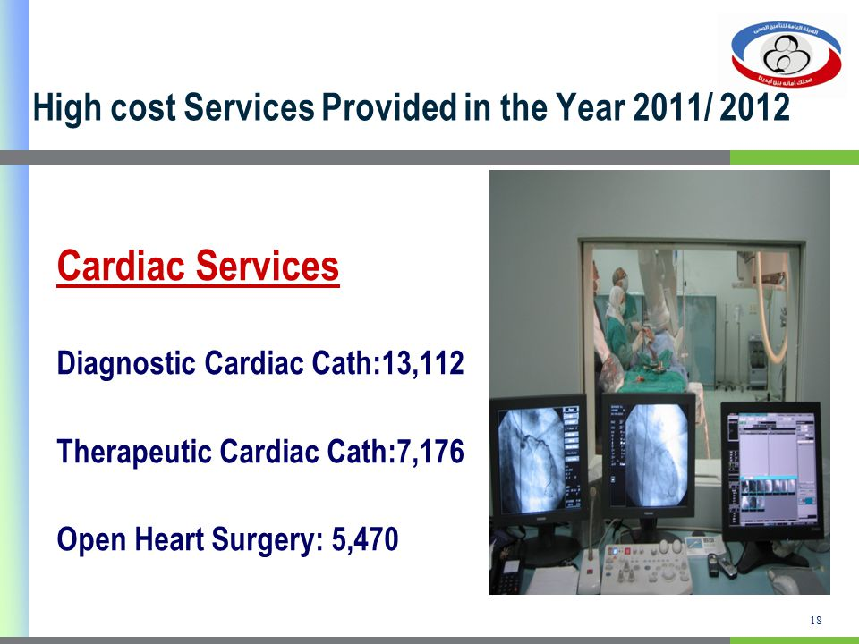 High cost Services Provided in the Year 2011/ 2012 Cardiac Services Diagnostic Cardiac Cath:13,112 Therapeutic Cardiac Cath:7,176 Open Heart Surgery: