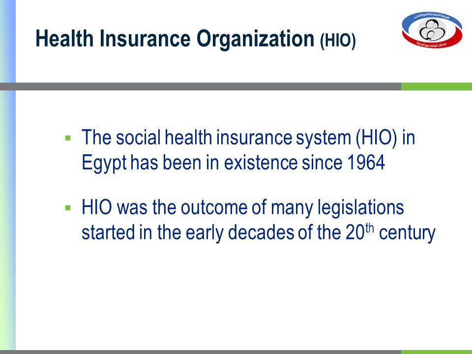 Health Insurance Organization (HIO) The social health insurance system (HIO) in Egypt has been in existence since 1964 HIO was the outcome of many leg