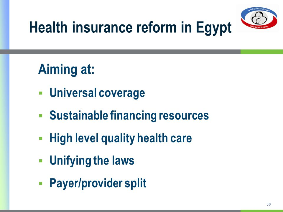 Health insurance reform in Egypt Aiming at: Universal coverage Sustainable financing resources High level quality health care Unifying the laws Payer/provider split 30