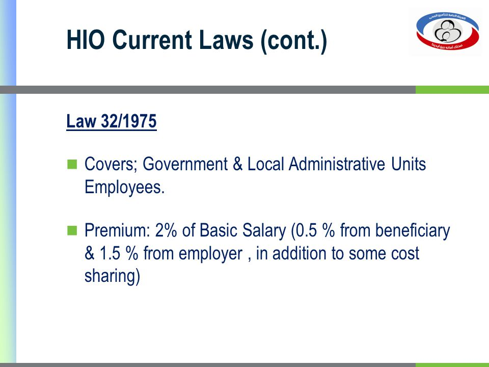 HIO Current Laws (cont.) Law 32/1975 Covers; Government & Local Administrative Units Employees. Premium: 2% of Basic Salary (0.5 % from beneficiary &