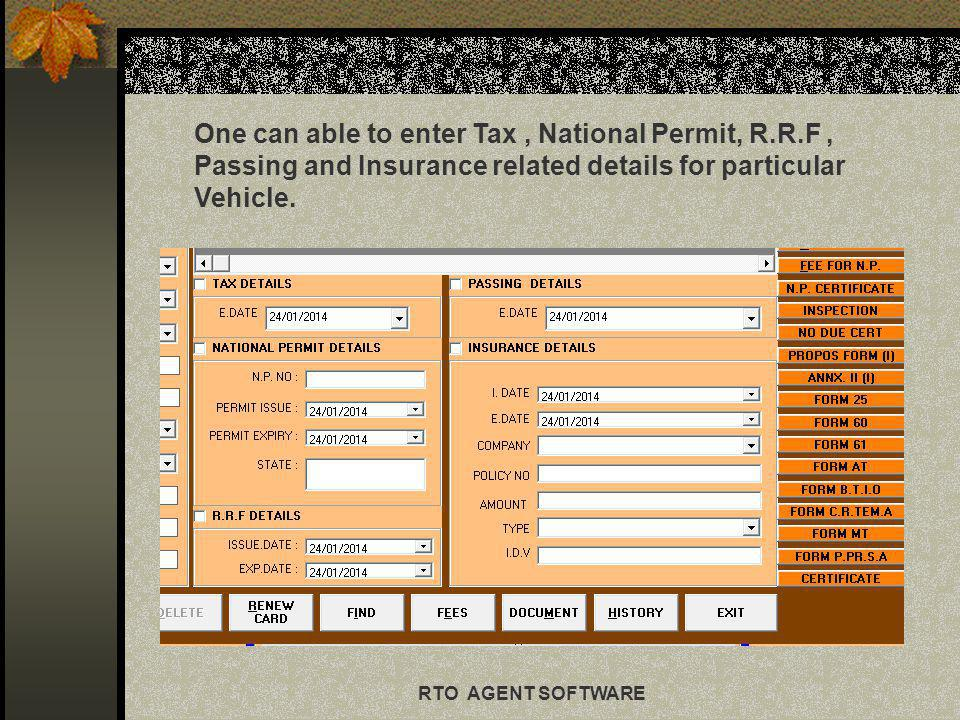 9 RTO AGENT SOFTWARE Renew card button which contains entire summary for particular vehicle.