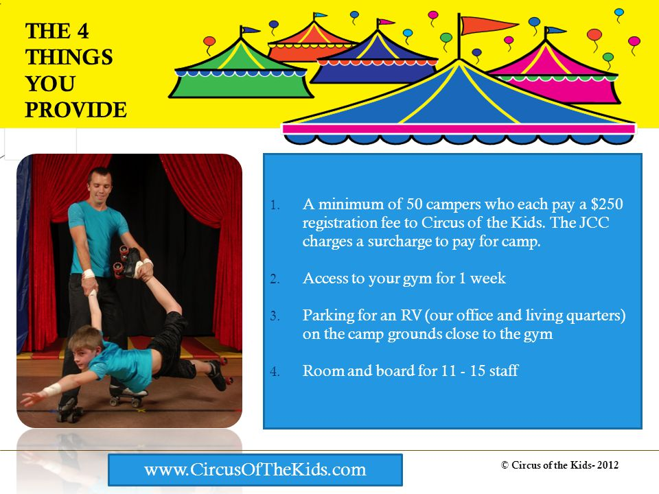 © Circus of the Kids- 2012 THE 4 THINGS YOU PROVIDE www.CircusOfTheKids.com 1.