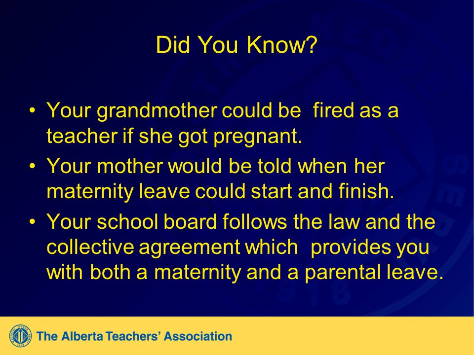 Did You Know. Your grandmother could be fired as a teacher if she got pregnant.