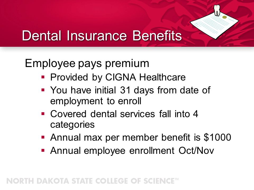 Dental Insurance Benefits Employee pays premium Provided by CIGNA Healthcare You have initial 31 days from date of employment to enroll Covered dental services fall into 4 categories Annual max per member benefit is $1000 Annual employee enrollment Oct/Nov