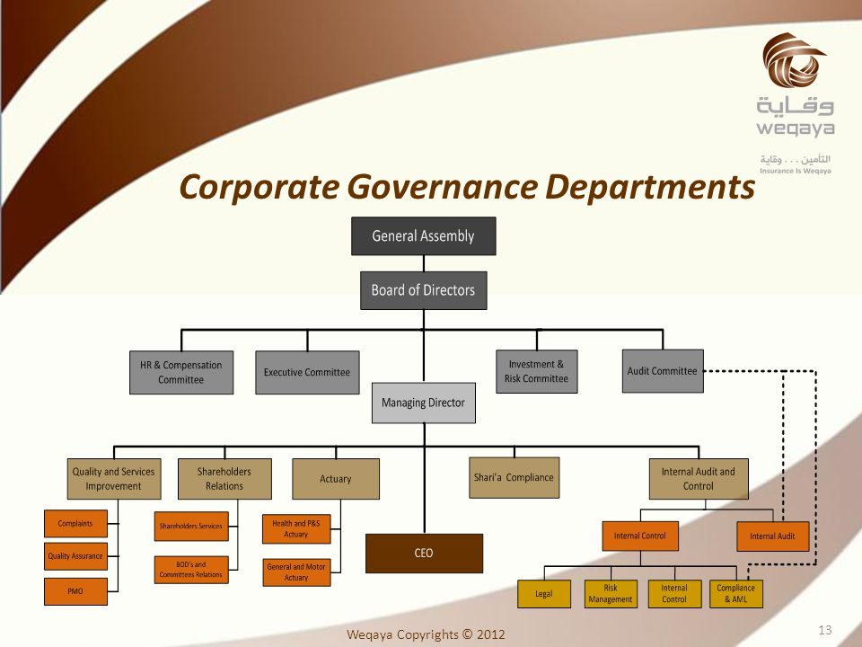 Corporate Governance Departments Weqaya Copyrights © 2012 13