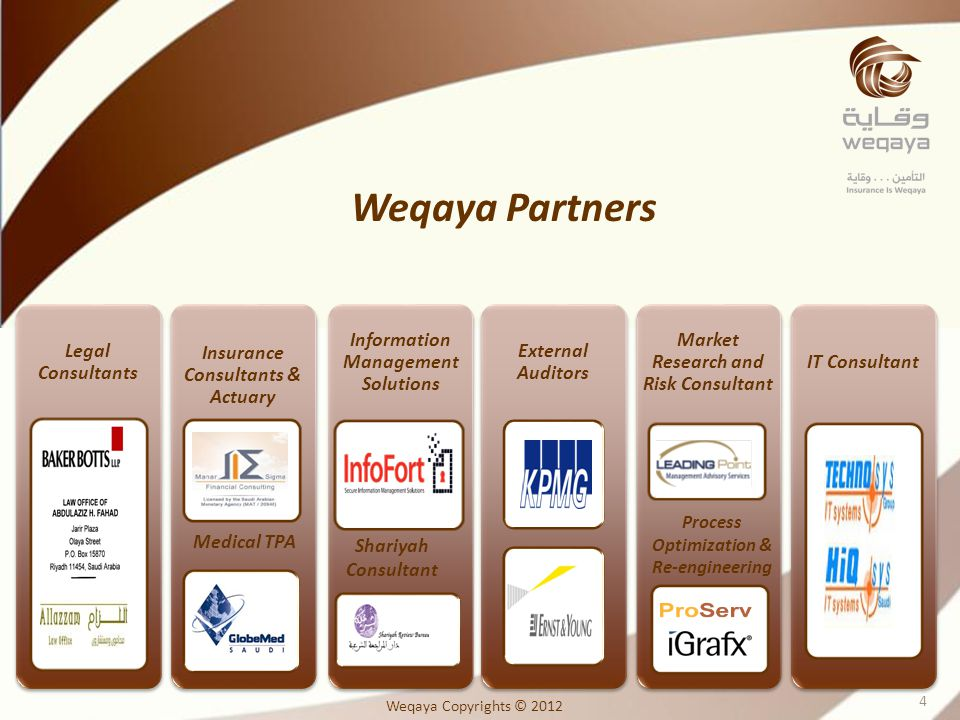 Legal Consultants Insurance Consultants & Actuary Information Management Solutions External Auditors Market Research and Risk Consultant IT Consultant