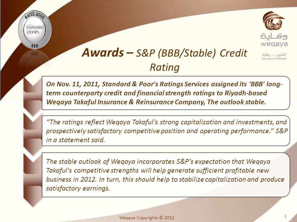 On Nov. 11, 2011, Standard & Poor's Ratings Services assigned its 'BBB' long- term counterparty credit and financial strength ratings to Riyadh-based