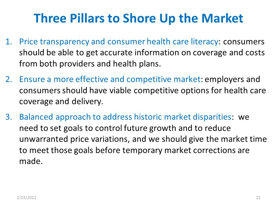1.Price transparency and consumer health care literacy: consumers should be able to get accurate information on coverage and costs from both providers and health plans.