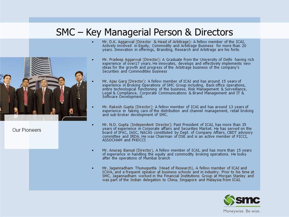 SMC – Key Managerial Person & Directors Mr. D.K. Aggarwal (Director & Head of Arbitrage):Mr. D.K. Aggarwal (Director & Head of Arbitrage): A fellow me