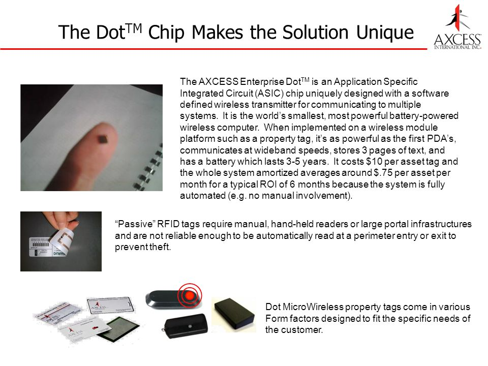 The Dot TM Chip Makes the Solution Unique The AXCESS Enterprise Dot TM is an Application Specific Integrated Circuit (ASIC) chip uniquely designed wit