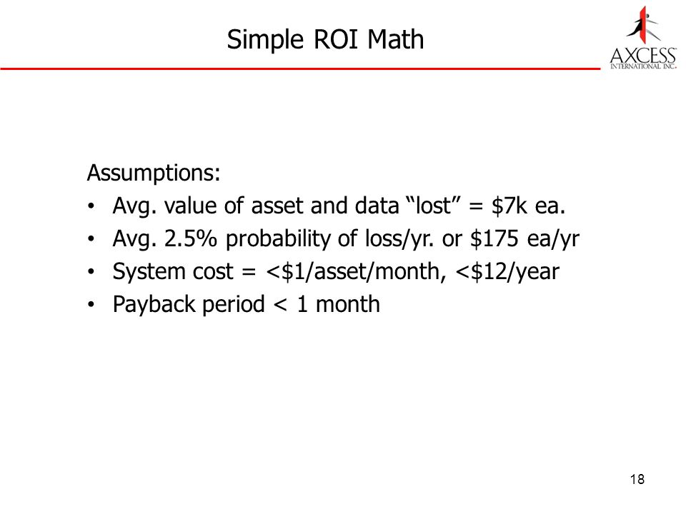 18 Simple ROI Math Assumptions: Avg. value of asset and data lost = $7k ea. Avg. 2.5% probability of loss/yr. or $175 ea/yr System cost = <$1/asset/mo