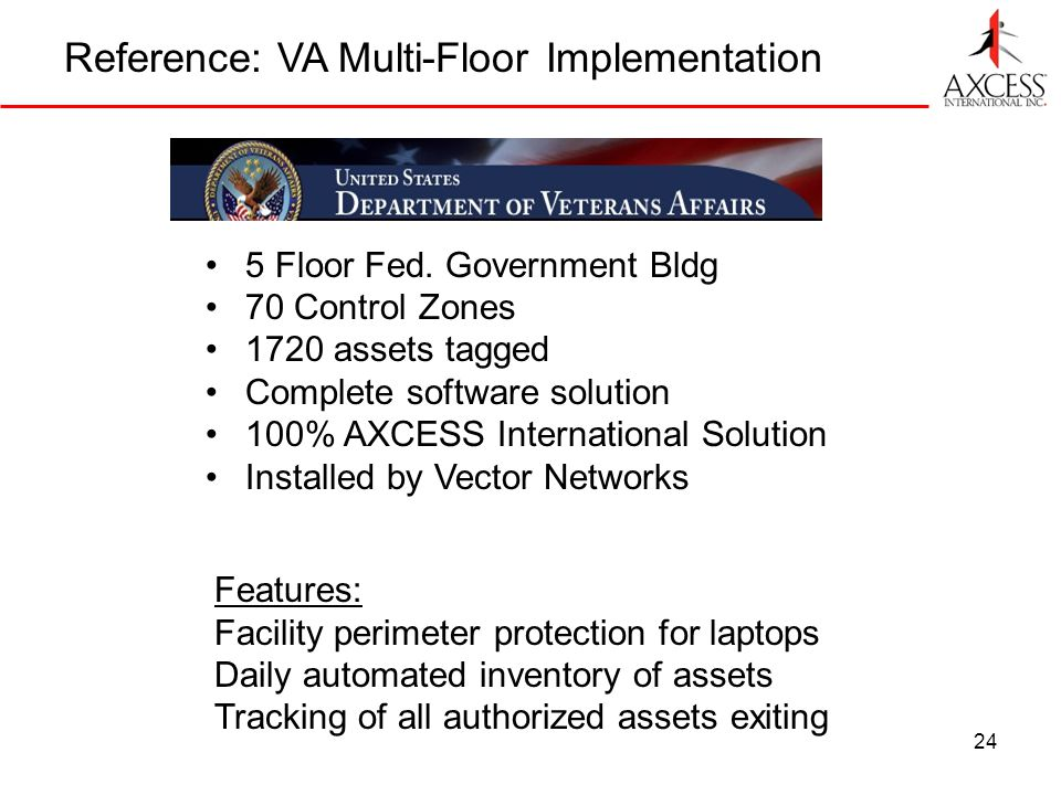 24 Reference: VA Multi-Floor Implementation 5 Floor Fed. Government Bldg 70 Control Zones 1720 assets tagged Complete software solution 100% AXCESS In