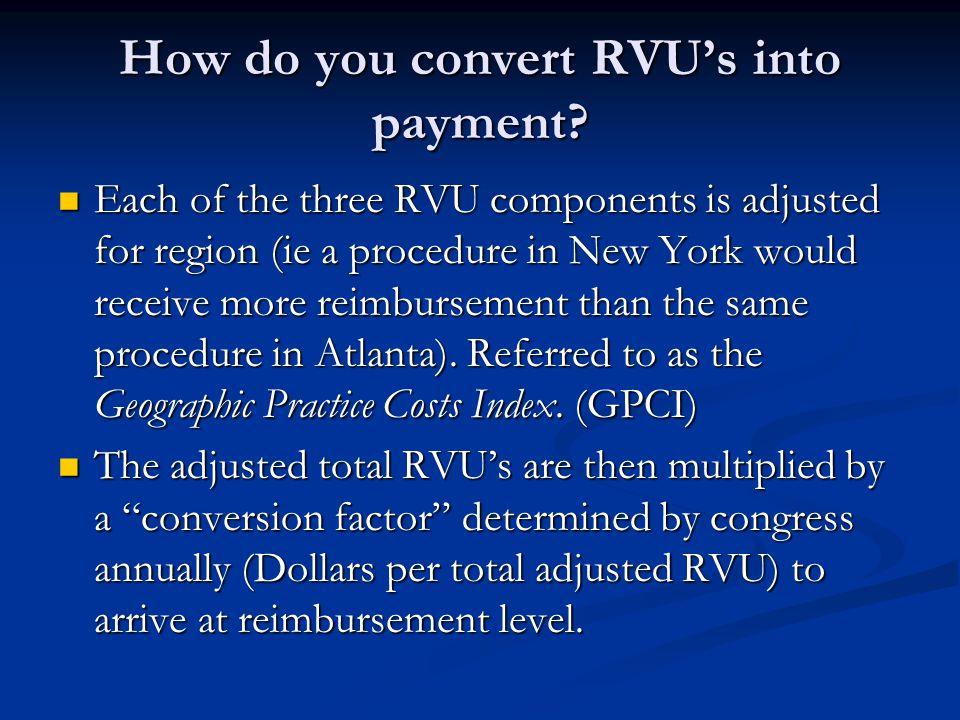 How do you convert RVUs into payment.