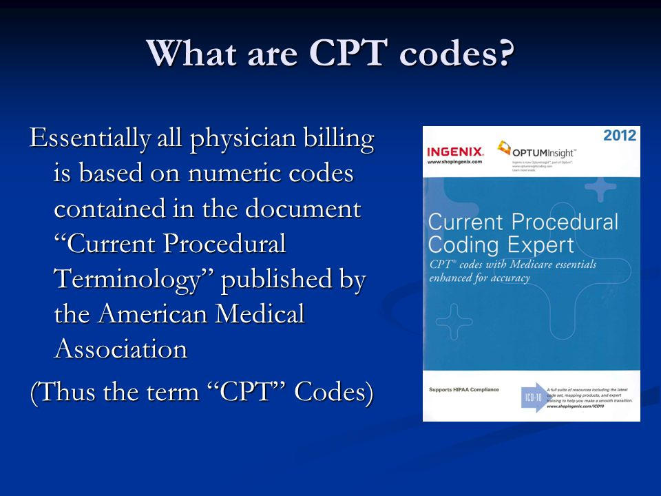 What are CPT codes.