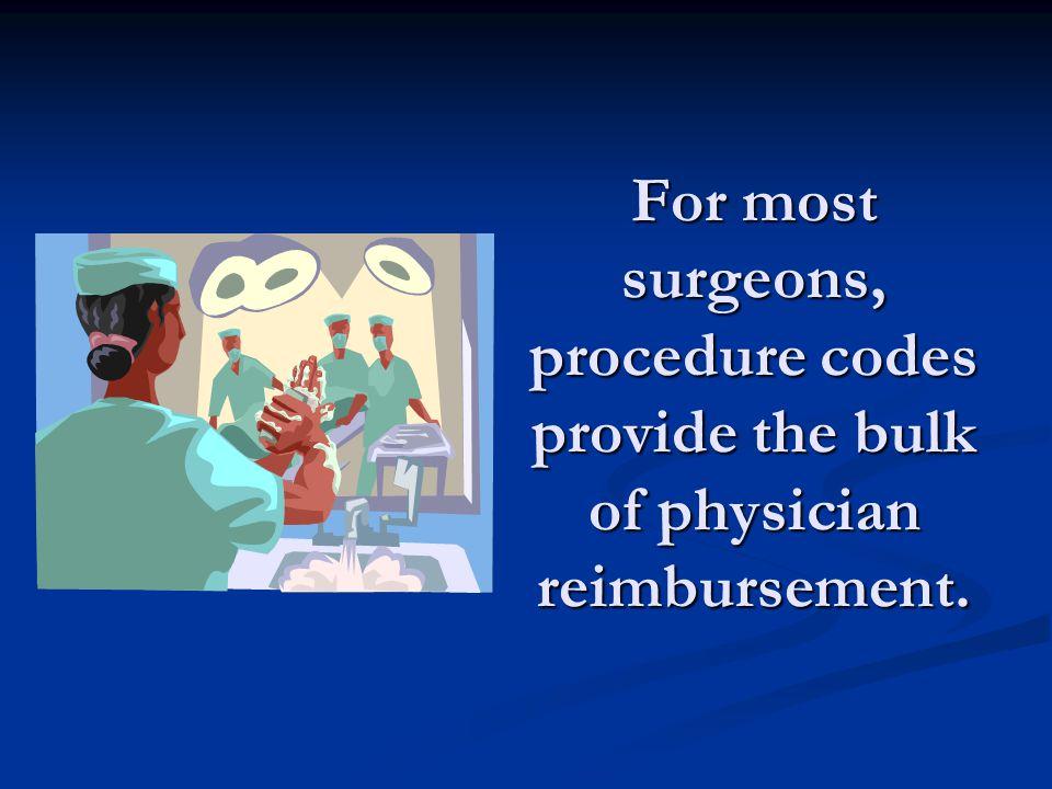 For most surgeons, procedure codes provide the bulk of physician reimbursement.