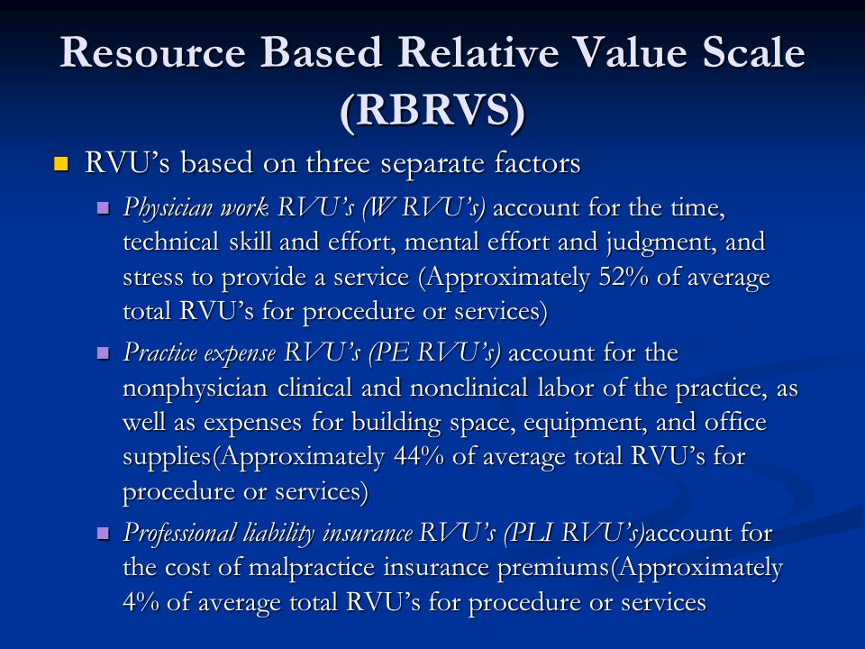 Resource Based Relative Value Scale (RBRVS) RVUs based on three separate factors RVUs based on three separate factors Physician work RVUs (W RVUs) account for the time, technical skill and effort, mental effort and judgment, and stress to provide a service (Approximately 52% of average total RVUs for procedure or services) Physician work RVUs (W RVUs) account for the time, technical skill and effort, mental effort and judgment, and stress to provide a service (Approximately 52% of average total RVUs for procedure or services) Practice expense RVUs (PE RVUs) account for the nonphysician clinical and nonclinical labor of the practice, as well as expenses for building space, equipment, and office supplies(Approximately 44% of average total RVUs for procedure or services) Practice expense RVUs (PE RVUs) account for the nonphysician clinical and nonclinical labor of the practice, as well as expenses for building space, equipment, and office supplies(Approximately 44% of average total RVUs for procedure or services) Professional liability insurance RVUs (PLI RVUs)account for the cost of malpractice insurance premiums(Approximately 4% of average total RVUs for procedure or services Professional liability insurance RVUs (PLI RVUs)account for the cost of malpractice insurance premiums(Approximately 4% of average total RVUs for procedure or services
