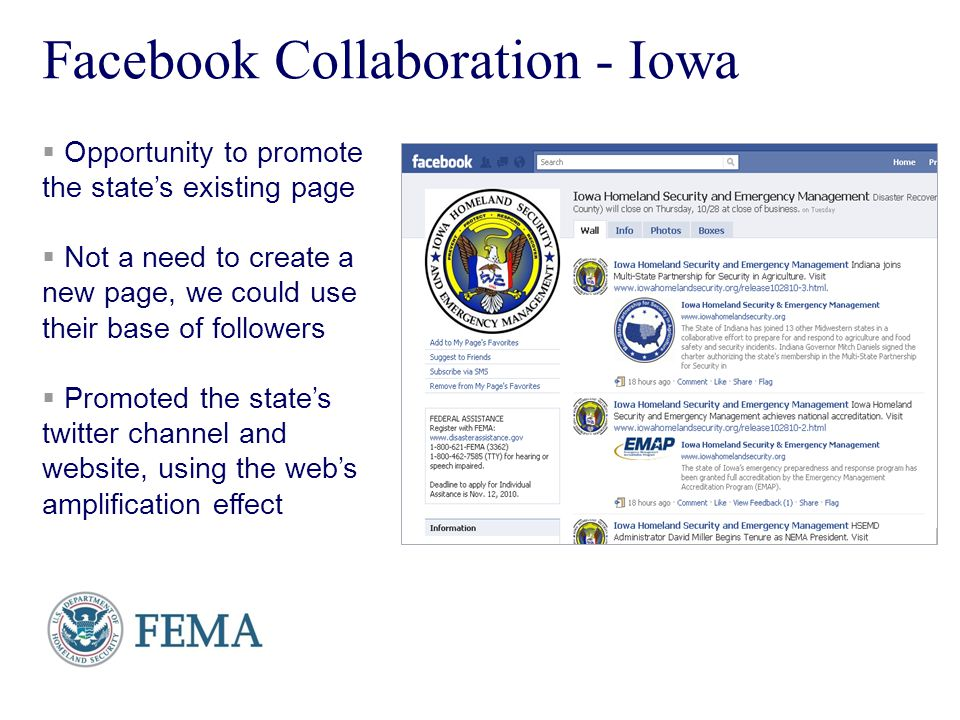 Presenters Name June 17, 2003 10 Facebook Collaboration - Iowa Opportunity to promote the states existing page Not a need to create a new page, we cou
