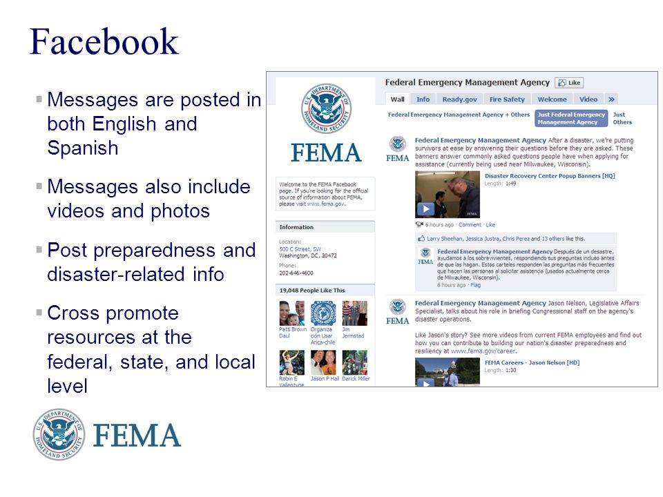 Presenters Name June 17, 2003 12 Facebook Messages are posted in both English and Spanish Messages also include videos and photos Post preparedness an