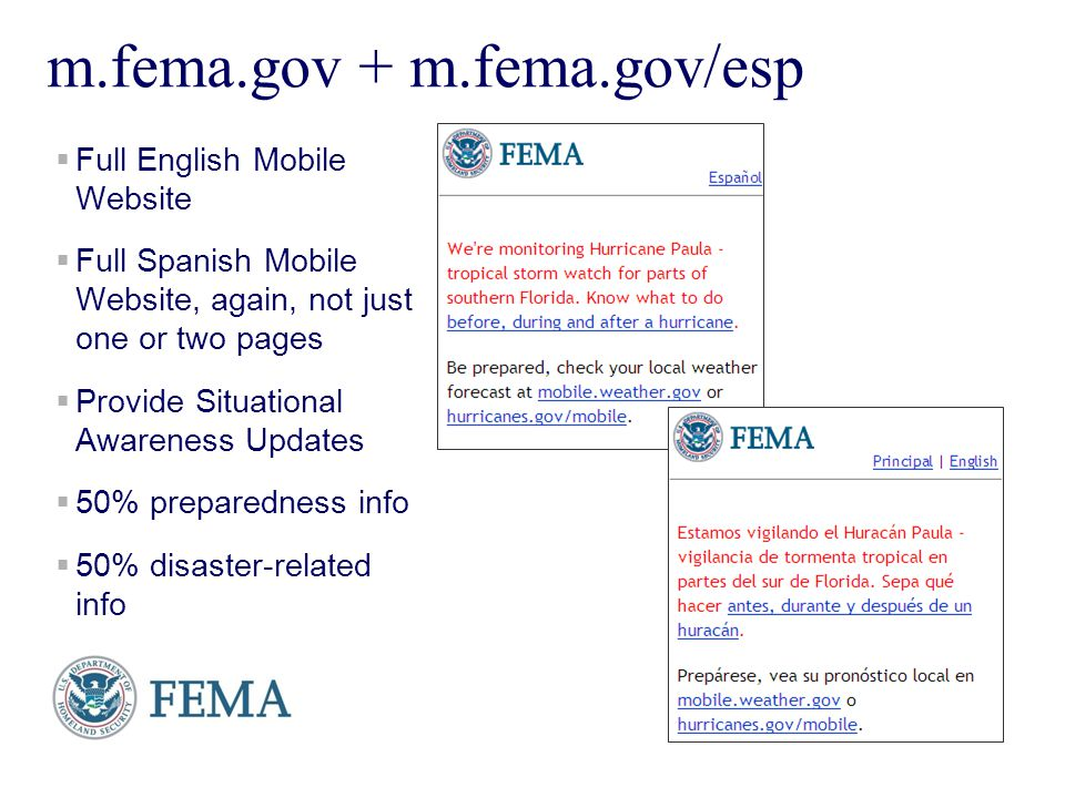Presenters Name June 17, 2003 5 m.fema.gov + m.fema.gov/esp Full English Mobile Website Full Spanish Mobile Website, again, not just one or two pages