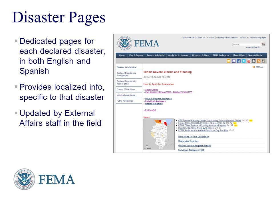Presenters Name June 17, 2003 6 Disaster Pages Dedicated pages for each declared disaster, in both English and Spanish Provides localized info, specif