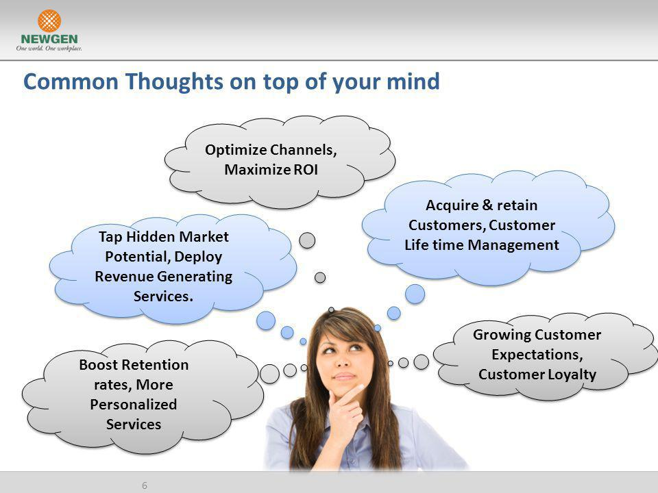 Common Thoughts on top of your mind 6 Growing Customer Expectations, Customer Loyalty Acquire & retain Customers, Customer Life time Management Optimi