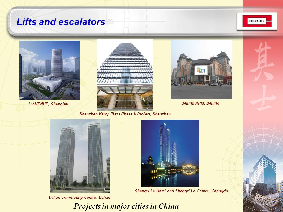 LAVENUE, Shanghai Beijing APM, Beijing Projects in major cities in China Shenzhen Kerry Plaza Phase II Project, Shenzhen Shangri-La Hotel and Shangri-La Centre, Chengdu Dalian Commodity Centre, Dalian Lifts and escalators