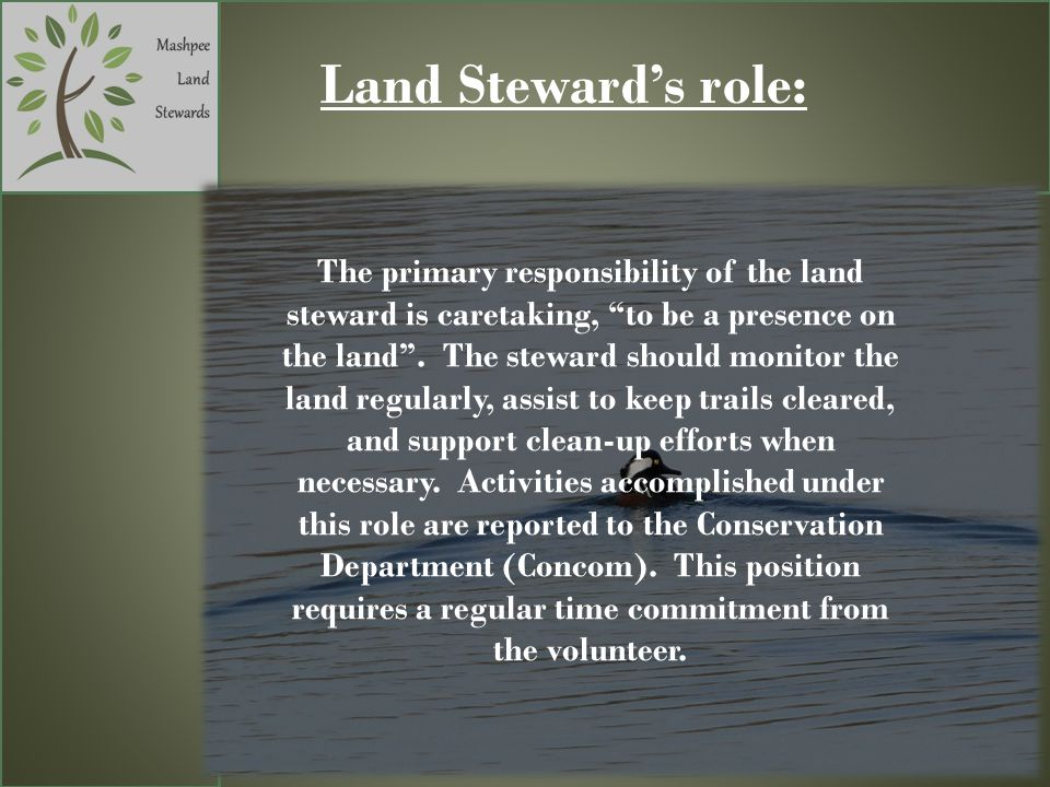 Land Stewards role: The primary responsibility of the land steward is caretaking, to be a presence on the land.