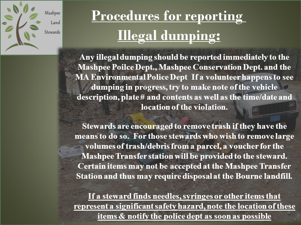 Procedures for reporting Illegal dumping : Any illegal dumping should be reported immediately to the Mashpee Poilce Dept., Mashpee Conservation Dept.