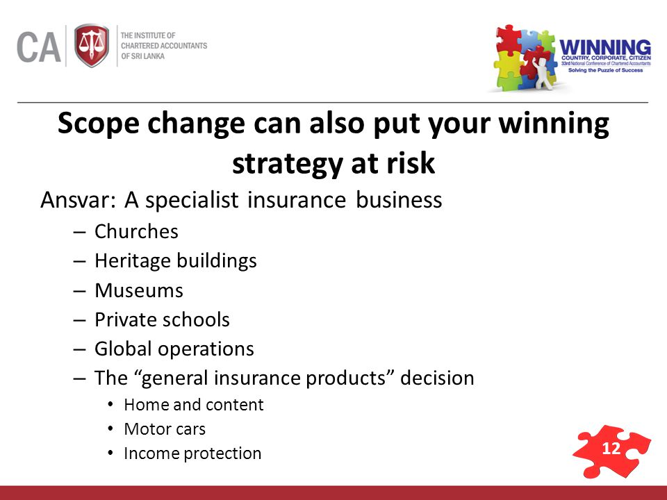 12 Scope change can also put your winning strategy at risk Ansvar: A specialist insurance business – Churches – Heritage buildings – Museums – Private schools – Global operations – The general insurance products decision Home and content Motor cars Income protection