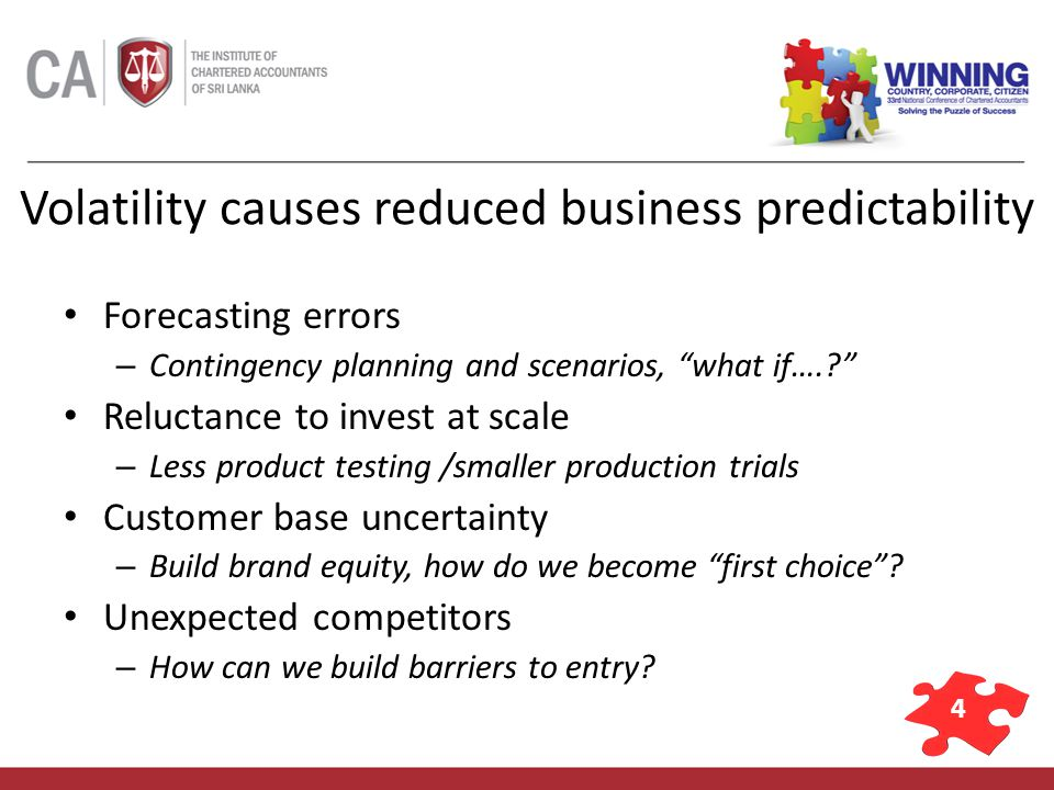 4 Volatility causes reduced business predictability Forecasting errors – Contingency planning and scenarios, what if…..