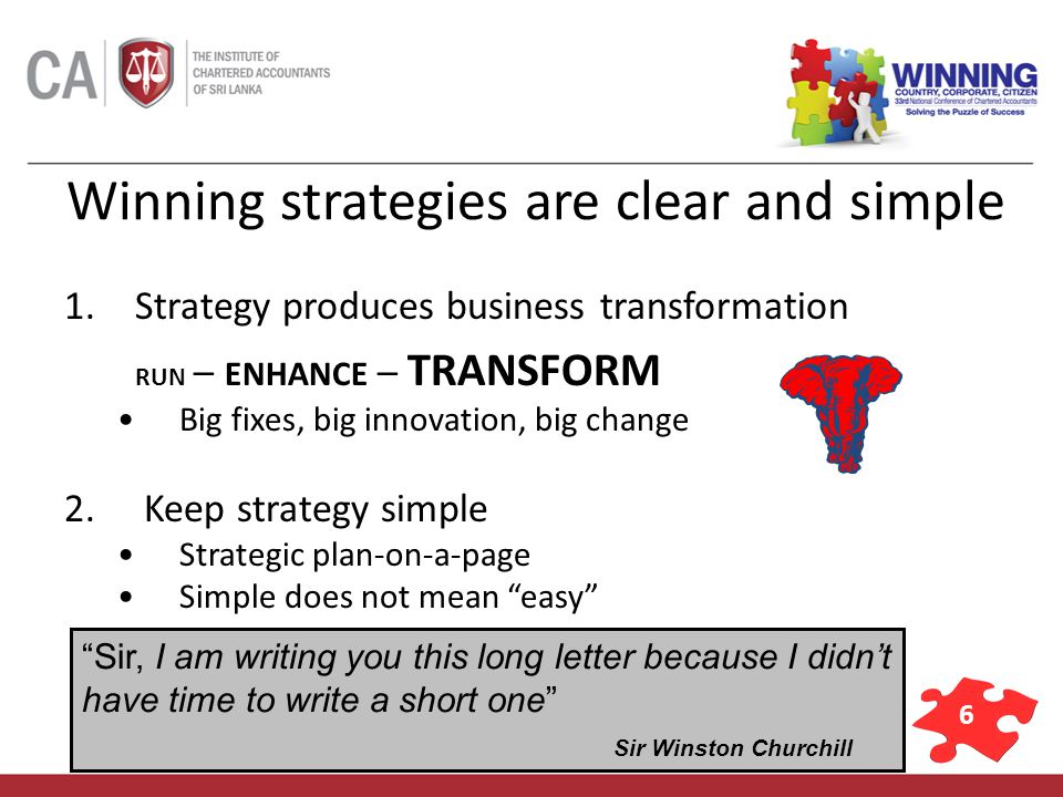 6 Winning strategies are clear and simple 1.Strategy produces business transformation RUN – ENHANCE – TRANSFORM Big fixes, big innovation, big change 2.
