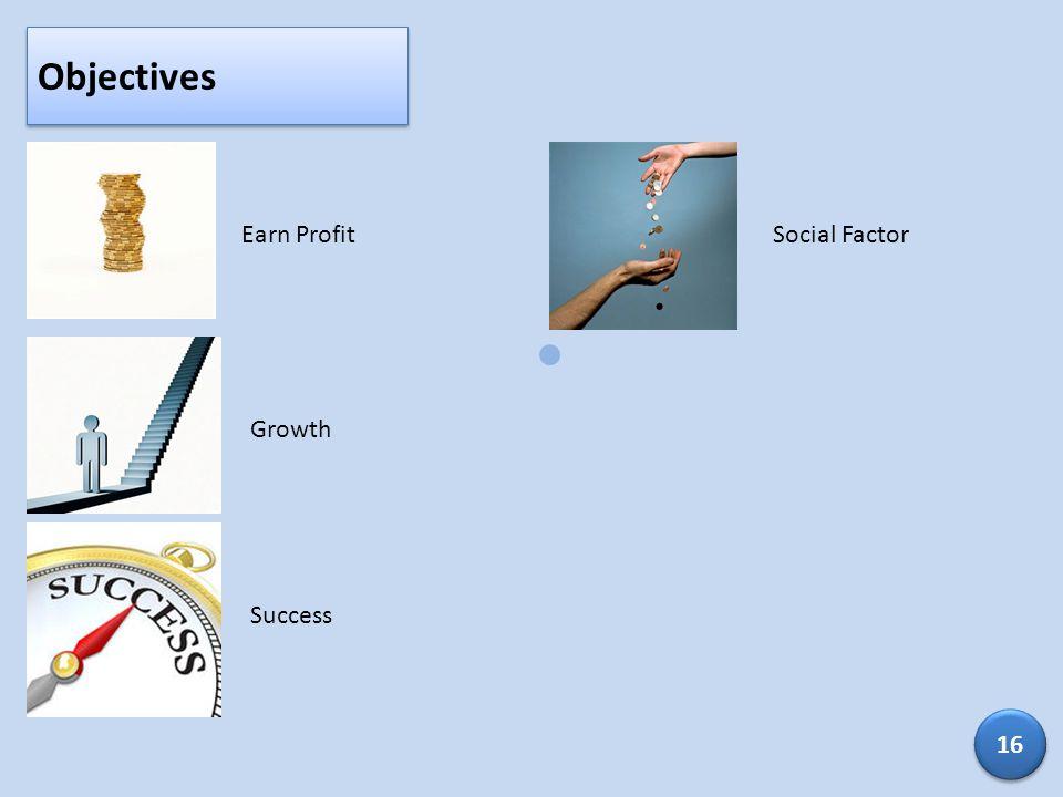 Objectives Earn ProfitGrowthSuccessSocial Factor 16