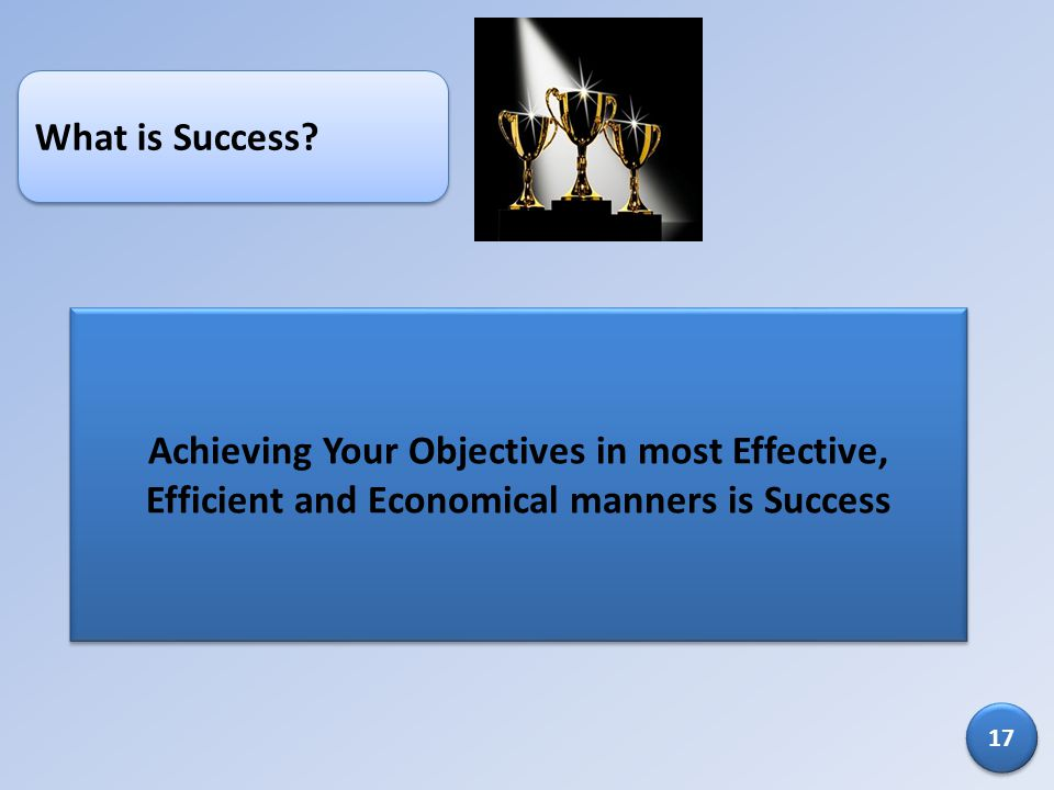 What is Success? Achieving Your Objectives in most Effective, Efficient and Economical manners is Success 17