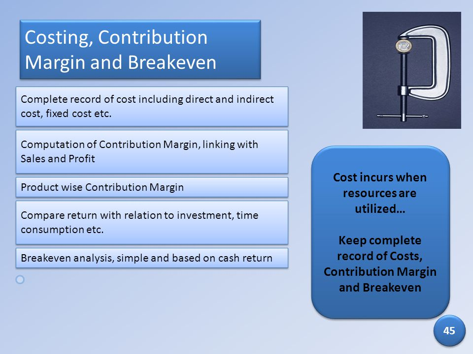 Costing, Contribution Margin and Breakeven Cost incurs when resources are utilized… Keep complete record of Costs, Contribution Margin and Breakeven C