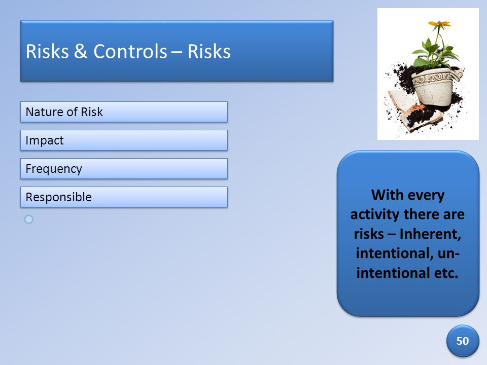 Risks & Controls – Risks With every activity there are risks – Inherent, intentional, un- intentional etc. Nature of Risk Frequency Impact Responsible