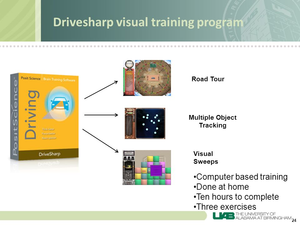 24 Drivesharp visual training program Road Tour Multiple Object Tracking Visual Sweeps Computer based training Done at home Ten hours to complete Thre