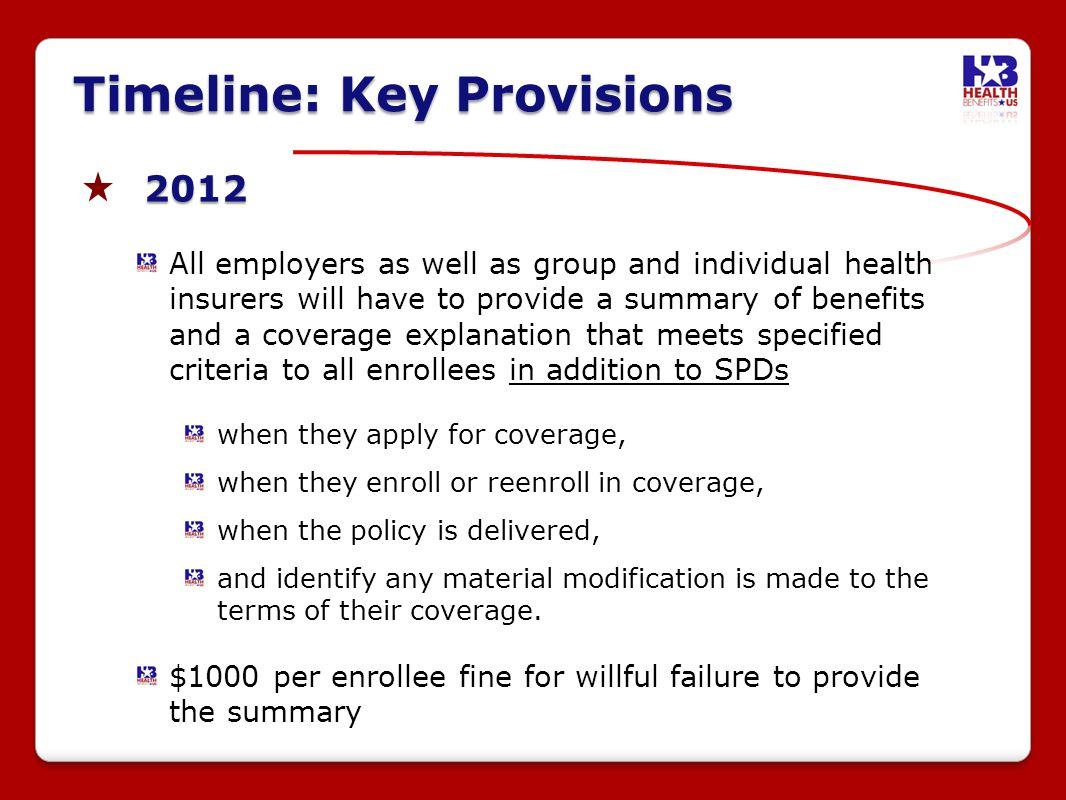2012 All employers as well as group and individual health insurers will have to provide a summary of benefits and a coverage explanation that meets specified criteria to all enrollees in addition to SPDs when they apply for coverage, when they enroll or reenroll in coverage, when the policy is delivered, and identify any material modification is made to the terms of their coverage.