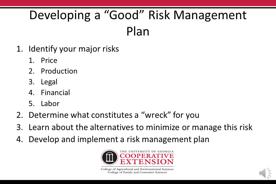Lets talk about risk It is NOT uncertainty! It is the negative outcome associated with an unforeseen event. Good risk managers – Know the odds – Dont