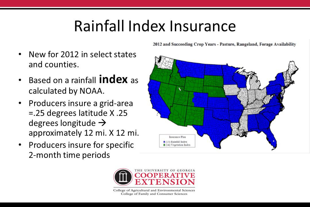 RAINFALL INDEX INSURANCE Production/Financial Risk Management