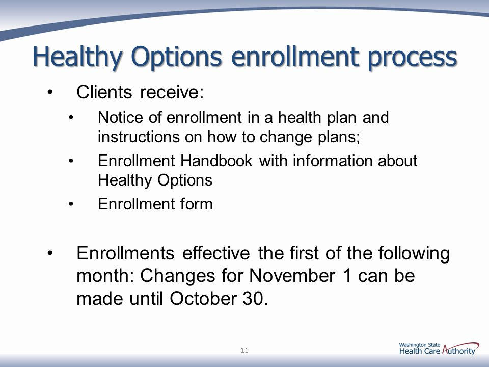 Healthy Options enrollment process Clients receive: Notice of enrollment in a health plan and instructions on how to change plans; Enrollment Handbook
